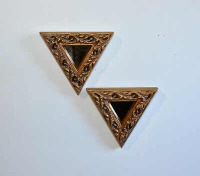 """Pair of Ornate Gold Triangle Mirrors Hollywood Regency Victorian Gothic VTG 7"""""""
