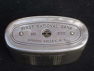 "Spring Valley, NY, #5390 ""First National Bank"", Vintage Chrome Still Bank w/Key!"