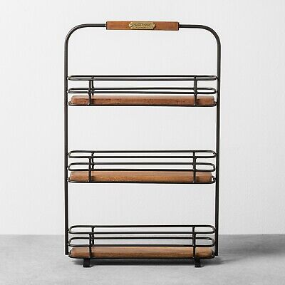 Hearth and Hand Magnolia Kitchen Spice Rack Black Metal Brown Wood Farmhouse