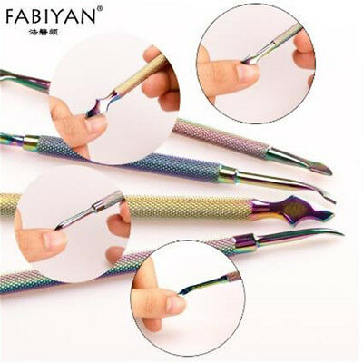 4Pcs Double Ended Colorful Manicure Pedicure Grooming Cuticle Remover one