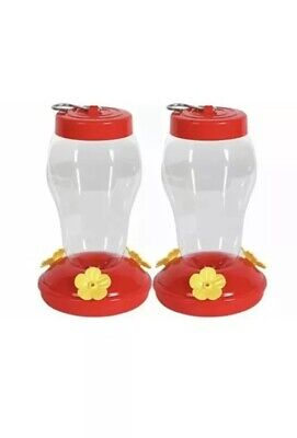 Best Deal! Lot Of 2 New Red Plastic Hummingbird Feeder Nectar Flower 16 Oz