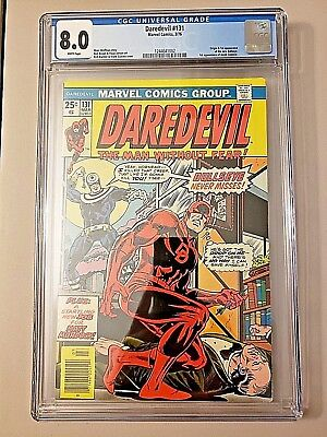Daredevil #131 CGC 8.0 WHITE pages, 1st Bullseye, origin, graded key show marvel