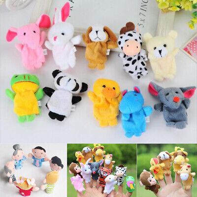 Family Finger Puppets Cloth Doll Baby Educational Hand Cartoon Animal Toy 6/12X