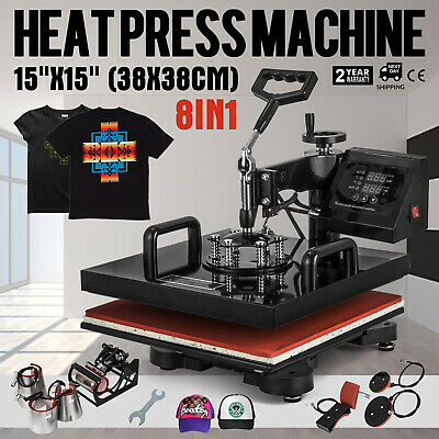 "8 in 1 Heat Press Machine 15""X15"" Transfer Sublimation T-Shirt Cap Swing away"