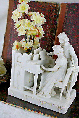 Rare antique French 1900 porcelain bisque planter vase music piano couple marked