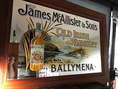 "Bruce Jackson Glass Gilded ""James McAllister &Sons Old Irish Whisky"" Pub Mirror"