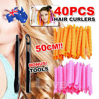 40pcs No Heat Leverage Curlers Formers Spiral Styling Rollers Magic Hair Curler