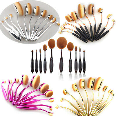 10Pcs Pro Oval Cream Toothbrush Puff Eyebrow Makeup Brushes Eyeliner Foundation