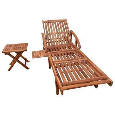 Outdoor Deck Chair with Footrest Wood Garden Patio Sun Lounger Foldable Chaise