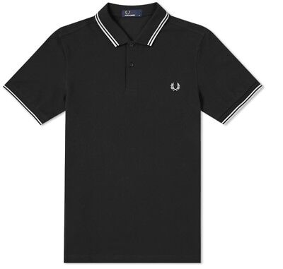 New Fred Perry Twin Tipped Polo Shirt Black S M L XL M3600 Slim Fit Pique White