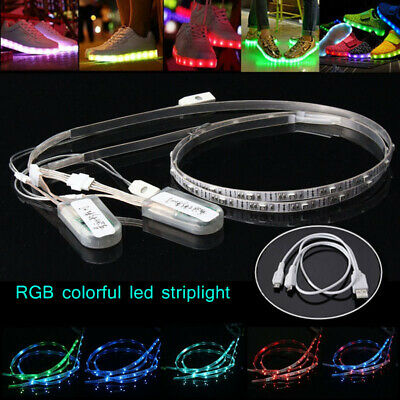 2 Pcs 60cm RGB 24 LED Strip Light for Shoes Clothes USB Charging Battery Powered