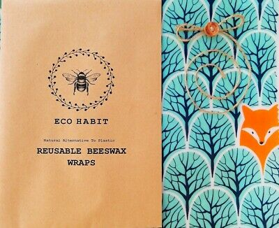 Eco Habit 100% Natural Beeswax Food Wraps, Handmade, Biodegradable, Forest