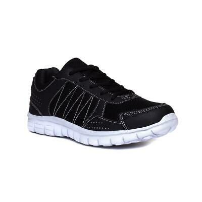 Mens Trainer Lace Up Trainer Stitch Detail in Black by Podium