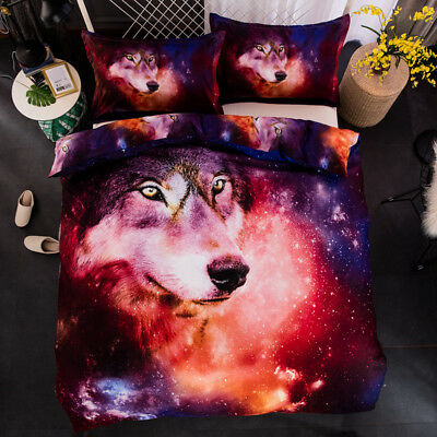 Wolf Doona Duvet Quilt Cover Set Galaxy Queen Size Bed Covers Bedding Pillowcase