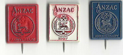 3 Different ANZAC Plastic Badges 1997 White, Blue & Red Anniversary Rectangular