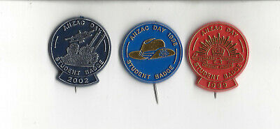 3 Different ANZAC Day Student Badges 98 Blue 20c, 99 Red 20c, 02 Navy 30c
