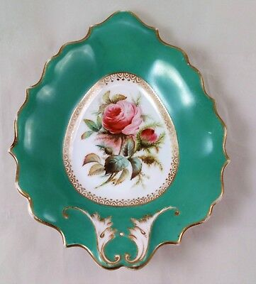 Antique Porcelain Leaf Shaped Pin Dish William Adams circa 1835 Painted Roses