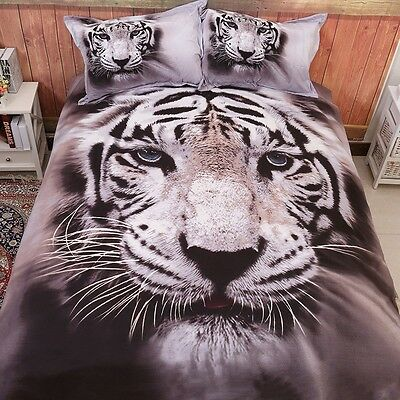 Tiger Doona Duvet Quilt Covers Set King Size Bed Animal PillowCase Bedding Set