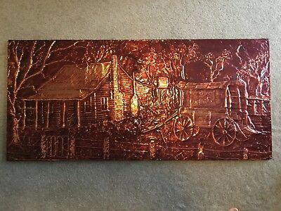 Vintage Copper Wall Art - Farm Cottage And Wagon Scene