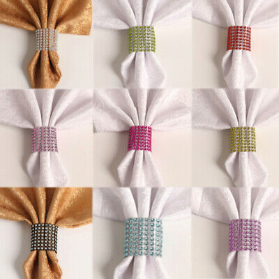 10Pcs/Lot Crystal Rhinestone Napkin Rings for Wedding Napkin Holder Table Decor