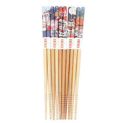 5 Pairs Natural Bamboo Wooden Chopsticks Chinese / Japanese Styles Reusable LH