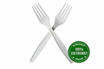 """HeloGreen Eco-Friendly Cornstarch 7"""" Disposable Forks. Heavyweight, Ivory 50 Set"""