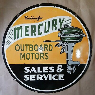 Mercury Outboard Motors 2 Sided Vintage Porcelain Sign 30 Inches Round