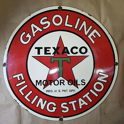 Texaco Gasoline Filling Station Vintage Porcelain Sign 30 Inches Round