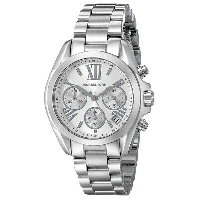 3b8871844add 100% New Michael Kors MK6174 Bradshaw Chronograph Silver Bracelet Women s  Watch