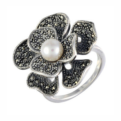 Gorgeous Sterling Silver Large Flower Fresh Water Pearl & Marcasite Ring Size N