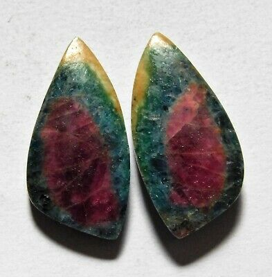 21.30 Cts Natural Ruby Fuchsite (23.4mm X 11.7mm Each) Loose Cabochon Match Pair