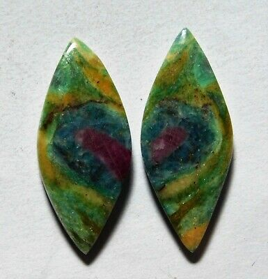 23.35 Cts Natural Ruby Fuchsite (30.9mm X 12.8mm Each) Loose Cabochon Match Pair