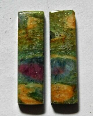 28.30 Cts Natural Ruby Fuchsite (30.3mm X 8.7mm Each) Loose Cabochon Match Pair