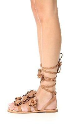 80a505aa77ee NIB Tory Burch Blossom Gladiator Sandals Size 9 Calf Leather Royal Tan Lace  Up