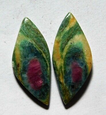 21.40 Cts Natural Ruby Fuchsite (29.3mm X 13.4mm Each) Loose Cabochon Match Pair