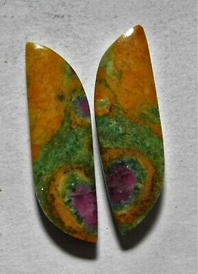 23.45 Cts Natural Ruby Fuchsite (31.6mm X 9.4mm Each) Loose Cabochon Match Pair