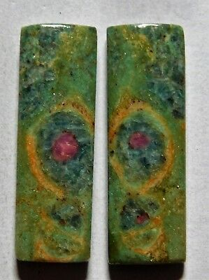 31.40 Cts Natural Ruby Fuchsite (30.7mm X 10mm Each) Loose Cabochon Match Pair