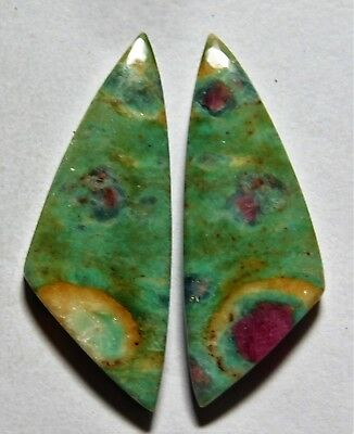 30.80 Cts Natural Ruby Fuchsite (38mm X 14.4mm Each) Loose Cabochon Match Pair