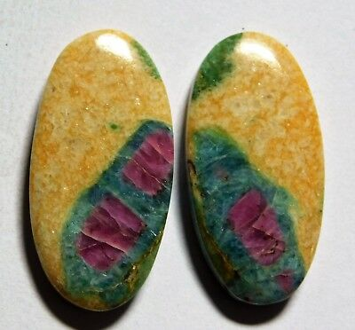 38.50 Cts Natural Ruby Fuchsite (30.7mm X 15.3mm Each) Loose Cabochon Match Pair