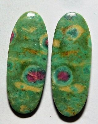 51.10 Cts Natural Ruby Fuchsite (41.6mm X 15.7mm Each) Loose Cabochon Match Pair