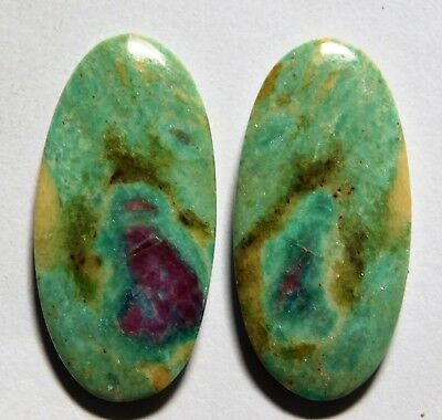 40.60 Cts Natural Ruby Fuchsite (34mm X 16.5mm Each) Loose Cabochon Match Pair