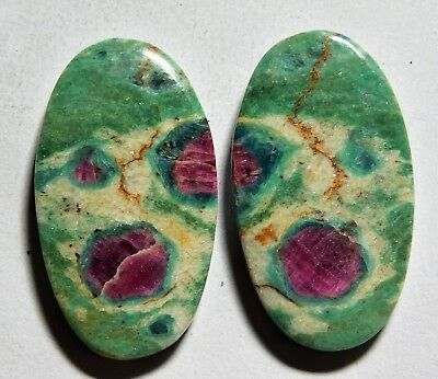 52.60 Cts Natural Ruby Fuchsite (33.5mm X 19mm Each) Loose Cabochon Match Pair