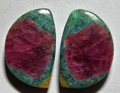 30.40 Cts Natural Ruby Fuchsite (21.5mm X 14.3mm Each) Loose Cabochon Match Pair
