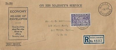 BAHAMAS 1948 REG TYPED COVER FROM NASSAU WITH KGVI 8d TO USA  MY REF 706