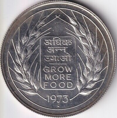 Indien ,10 Rupees 1973 , Silber , UNC , F.A.O.