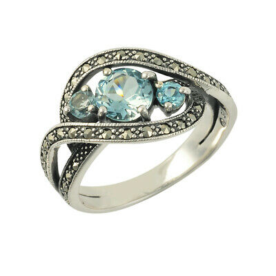 Sterling Silver Blue Topaz and Marcasite Elliptical Twist Ring - Size P