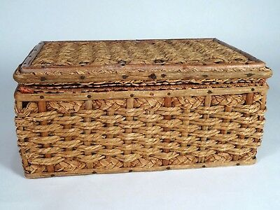 Antique Vintage Primitive Woven Wicker Sewing Basket