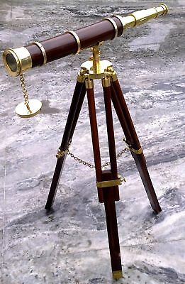 Nautical Brass Wood Telescope With Stand Maritime Marine Home Decorative Gift