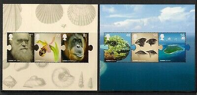 GB 2009 sg2905-10 Charles Darwin rare gummed stamp set from prestige booklet MNH