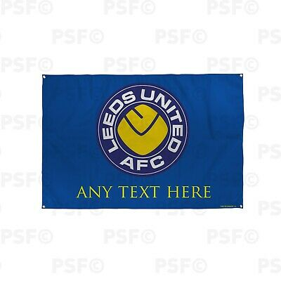 Leeds United FC Official Personalised Retro LUFC Smiley Blue Fabric Banner LB022